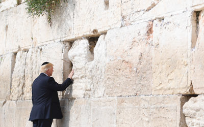 President Donald Trump at the Western Wall in Jerusalem, May 22, 2017. (Israel Bardugo)