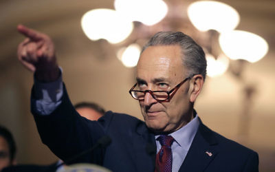 Sen. Charles Schumer talking to reporters at the Capitol, May 16, 2017. (Chip Somodevilla/Getty Images)