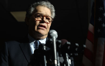 Al Franken speaking to the media after returning back to work in the Senate on Capitol Hill, Nov. 27, 2017. (Mark Wilson/Getty Images)