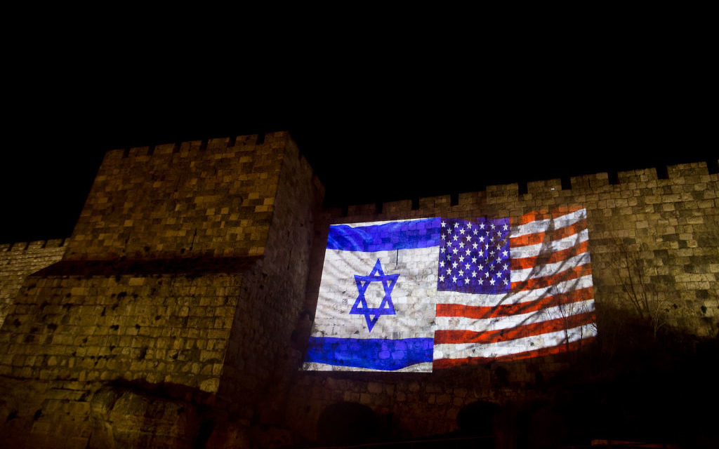 US and Israeli national flags projected on the wall of Jerusalem's Old City on December 6, 2017 in Jerusalem, Israel. U.S. President Donald Trump recognized Jerusalem as the capital of Israel in a landmark speech delivered at the White House on Wednesday. Getty Images