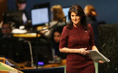 U.S. Ambassador Nikki Haley preparing to speak on the floor of the U.N. General Assembly in New York, Dec. 21, 2017. (Spencer Platt/Getty Images)