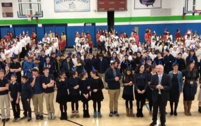 Over 500 students from Ben Porat Yosef in Paramus, N.J., broke the world record for the largest human menorah. (Screenshot from video by NorthJersey.com)
