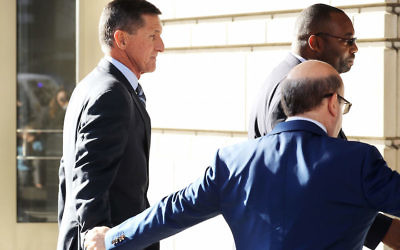 Michael Flynn, left, arriving for his plea hearing at the federal courthouse in Washington, D.C., Dec. 1, 2017. JTA
