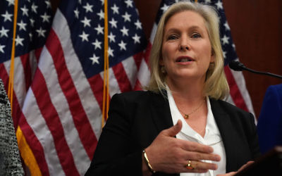 Sen. Kirsten Gillibrand speaking during a news conference about legislation aimed at preventing sexual harassment on Capitol Hill, Dec. 6, 2017. (Alex Wong/Getty Images)