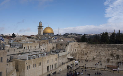 A view of the Western Wall and the golden Dome of the Rock Islamic shrine in Jerusalem, Dec. 6, 2017. (Lior Mizrahi/Getty Images)