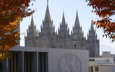 The historic Salt Lake Temple and the world headquarters of the Mormon church in Salt Lake City, Utah, Nov. 14, 2015. JTA
