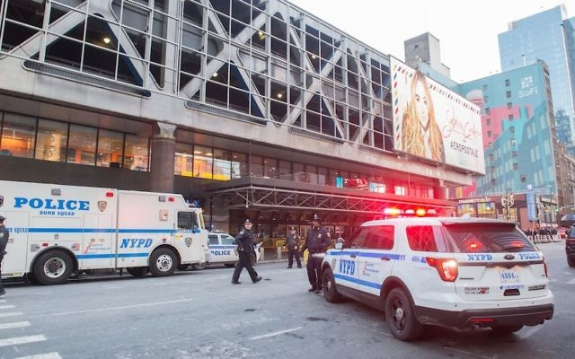 "Police and other first responders respond to a reported explosion at the Port Authority Bus Terminal on December 11, 2017 in New York. New York police said Monday that they were investigating an explosion of ""unknown origin"" in busy downtown Manhattan, and that people were being evacuated. Media reports said at least one person had been detained after the blast near the Port Authority transit terminal, close to Times Square.Early media reports said the blast came from a pipe bomb, and that several people were injured. JTA"