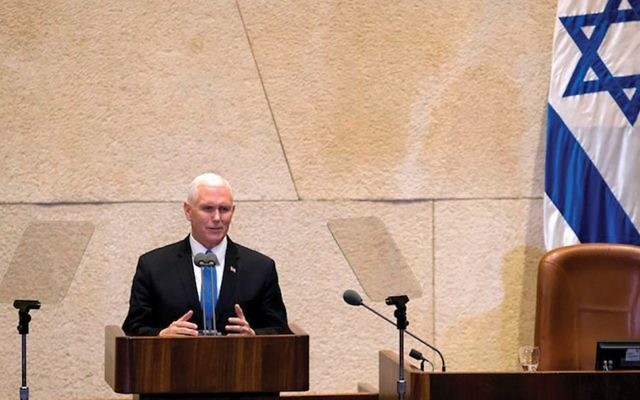 Sermon on the Knesset Mount: Vice President Mike Pence cited scripture often in his speech to the Knesset Monday. JTA