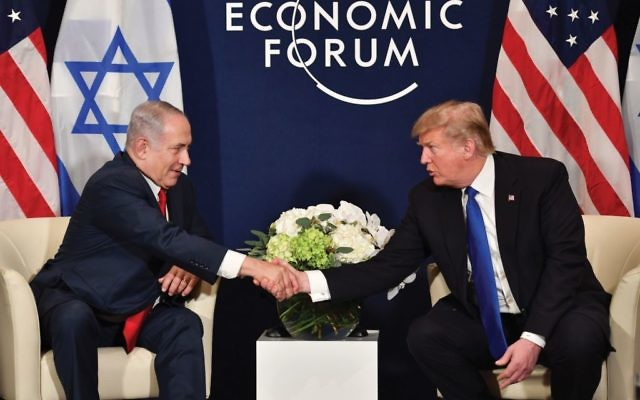 Best buds at Davos: Some Jews are thrilled to see the close bond between President Trump and Prime Minister Netanyahu after the tensions of the Obama years. Others cringe on seeing the Israeli leader basking in Trump's light. Getty Images