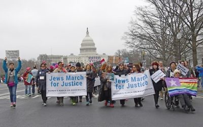 Jewish organizations come together on the National Mall for the Women's March on Washington in 2017. Ron Sachs/NCJW