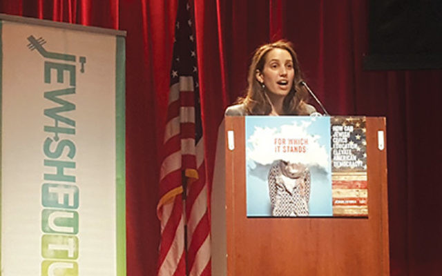 Jews secured freedom not by leaving slavery, but by entering into the covenant, accepting a framework of self-governance, historian Tamara Tweel, above, says during the conference's opening session.  Courtesy of The Jewish Education Project