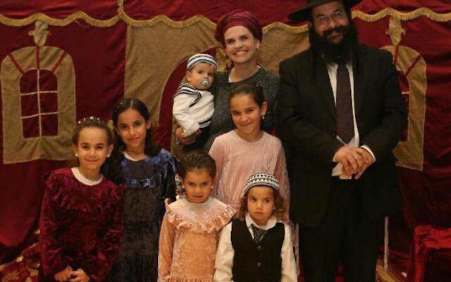 Rabbi Raziel Shevach, right, shown with his family, was killed in a shooting near Nablus in the northern West Bank. (Facebook)