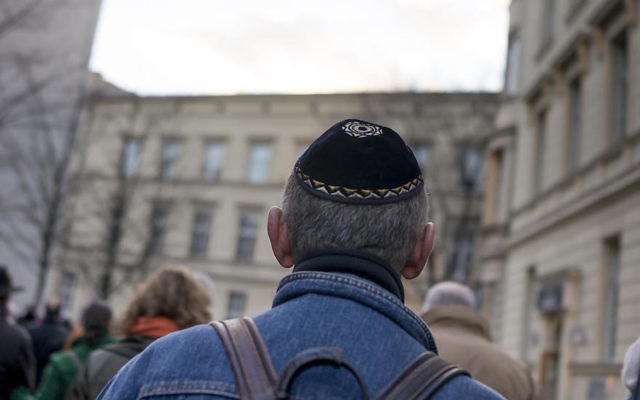 A man wearing a kippah in Berlin, Germany in 2013. (Carsten Koall/Getty Images)