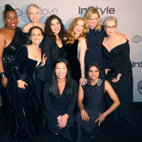 (Top L-R) Activist Rosa Clemente, actors Natalie Portman, Michelle Williams, America Ferrera, Jessica Chastain, Amy Poehler, Meryl Streep, (bottom L-R) activists Ai-jen Poo and Saru Jayaraman attend the 2018 InStyle and Warner Bros. 75th Annual Golden Globe Awards Post-Party at The Beverly Hilton Hotel on January 7, 2018 in Beverly Hills, California. Getty Images