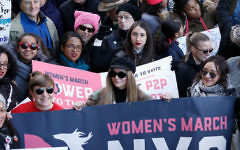 Demonstrators are seen during the 2018 Women's March in New York City on January 20, 2018 in New York City. Getty Images