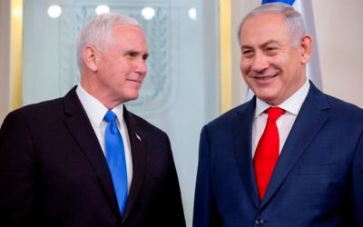 US Vice President Mike Pence (L) meets with Israeli Prime Minister Benjamin Netanyahu at the Prime Minister's Office in Jerusalem on January 22, 2018. Getty Images