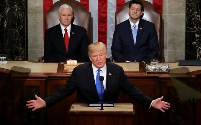 .S. President Donald J. Trump delivers the State of the Union address as U.S. Vice President Mike Pence (L) and Speaker of the House U.S. Rep. Paul Ryan (R-WI) (R) look on in the chamber of the U.S. House of Representatives January 30, 2018 in Washington, DC. Getty Images