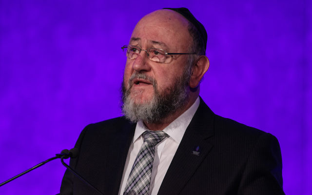 Chief Rabbi Ephraim Mirvis speaking at a National Holocaust Memorial Day event in London, Jan. 26, 2017. (Jack Taylor/Getty Images)