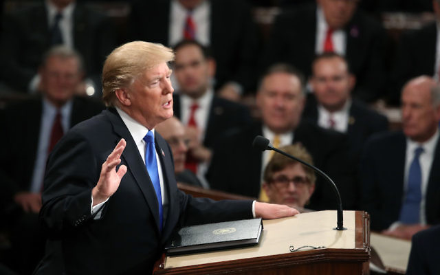 President Donald Trump delivering his first State of the Union address in the chamber of the U.S. House of Representatives, Jan. 30, 2018. JTA