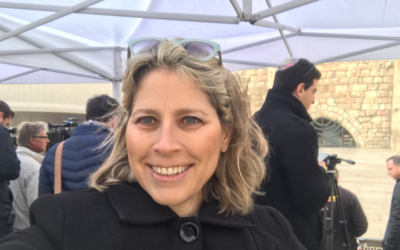 Tal Schneider during Mike Pence's visit to the Western Wall. (Tal Schneider/Twitter)