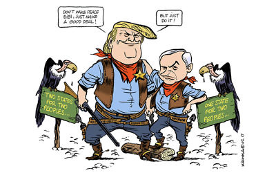 This Michel Kichka cartoon casts President Donald Trump and Israeli Prime Minister Benjamin Netanyahu as the new sheriffs in town.