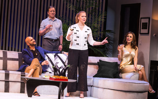 "From left, cast members of ""Meteor Shower"": Keegan-Michael Key, Jeremy Shamos, Amy Schumer and Laura Benanti. (Matthew Murphy)"
