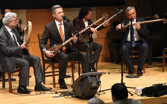 Osher Barayev, left, Aziz Rajabiy, Ulmas Olloberganov and Tahir Rajabiy at International Shash-Maqam Forever concert. Chrystie Sherman