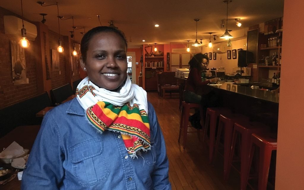 "Beejhy Barhany, who opened the Tsion Café with her husband in 2014: ""I'm a proud Ethiopian, a proud Jew, a proud black female … I celebrate all of that."" Josefin Dolsten"