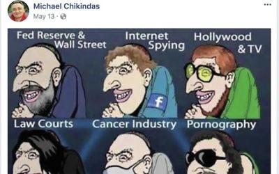 A screenshot from Rutgers Professor Michael Chikindas' Facebook page. JTA