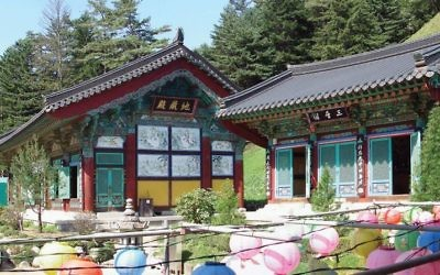 Woljeongsa Temple worship halls and gardens in Gangwon. Wikimedia Commons