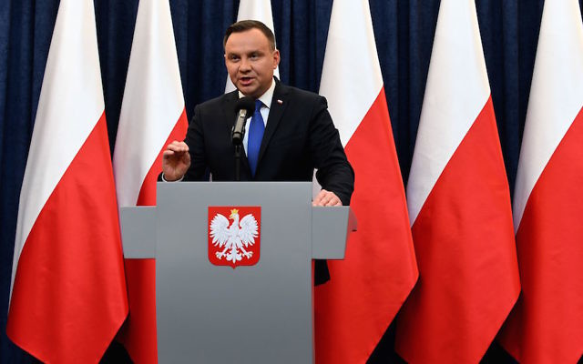 Poland's President Andrzej Duda giving a press conference in Warsaw to announce his plans to sign into law a controversial Holocaust bill which has sparked tensions with Israel, Feb. 6, 2018. (Janek Skarzynski/AFP/Getty Images)
