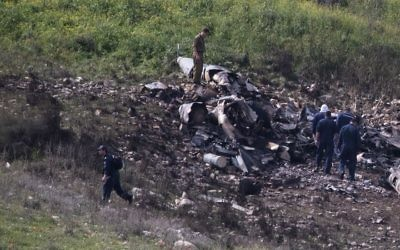 Remains of an Israeli F-16 fighter jet downed by Syrian anti-aircraft missiles during Israeli retaliation for the invasion of an Iranian drone. JTA
