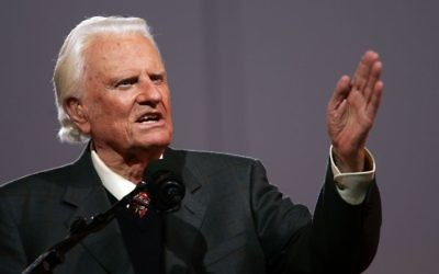 Billy Graham speaks during his Crusade at Flushing Meadows Corona Park June 24, 2005 in the Queens borough of New York. Getty Images