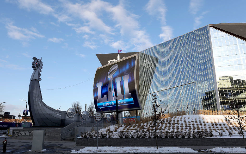 A general view of US Bank Stadium on January 31, 2018 in Minneapolis, Minnesota. Super Bowl LII will be played between the New England Patriots and the Philadelphia Eagles on February 4. Getty Images