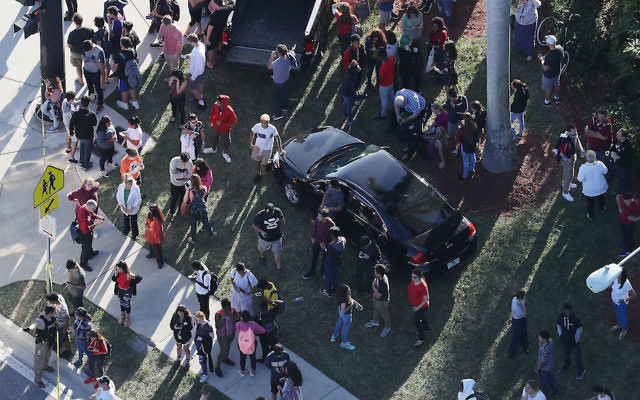 A look at the aftermath of the shooting at Marjory Stoneman Douglas High School in Parkland, Fla., Feb. 14, 2018. (Joe Raedle/Getty Images)