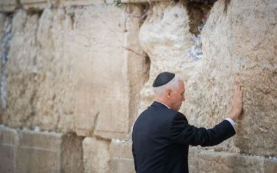 U.S. Vice President Mike Pence prays at the Western Wall during a private visit on Jan. 23, 2018. ( Yonatan Sindel/Flash90)