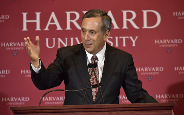 Lawrence Bacow speaking as he is introduced as Harvard University's 29th president during a news conference in Cambridge, Mass., Feb. 11, 2018. (Paul Marotta/Getty Images)