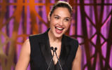 Gal Gadot speaking at The Hollywood Reporter's Women In Entertainment Breakfast in Los Angeles, Dec. 6, 2017. (Jesse Grant/Getty Images)
