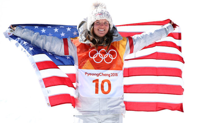 Arielle Gold posing after winning a bronze medal in the women's halfpipe snowboarding competition at the Winter Olympics in Pyeongchang, Feb. 13, 2018 (Cameron Spencer/Getty Images)
