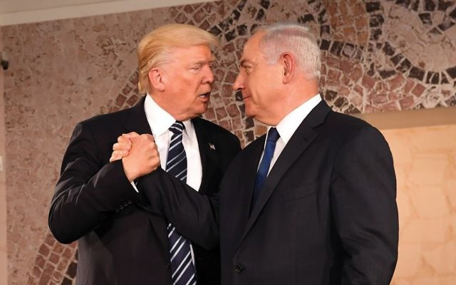 Best buds: President Trump and Israeli Prime Minister Netanyahu will trade jobs this week.  Trump will set up shop at the new hotel he is building above the Western Wall (see ad, next page) and Netanyahu will move into the slightly renamed Blue-and-White House.
