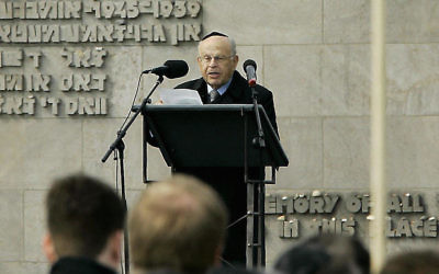 Sam Bloch, then president of the World Federation of Bergen-Belsen Associations. speaking during a ceremony marking the 60th anniversary of the liberation of the German concentration camp on April 17, 2005. JTA
