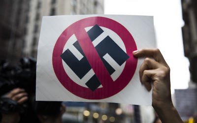 A sign at a protest in New York City, Aug. 14, 2017. (Robert Nickelsberg/Getty Images)