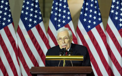 Lester Wolff, a congressman for 16 years, speaking at a Congressional Gold Medal ceremony on Capitol Hill, in Washington, D.C., Dec. 10, 2014. (Drew Angerer/Getty Images)