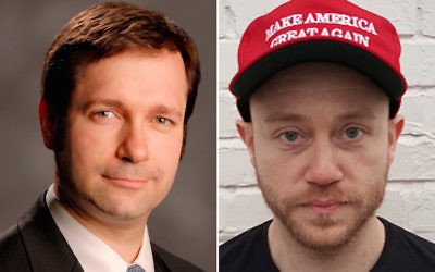 Jay Marshall Wolman, left, defends Andrew Anglin, the founder of the anti-Semitic website The Daily Stormer. (Randazza Legal Group/Wikimedia Commons)