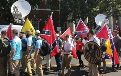 The white nationalist march last summer in Charlottesville, Va. Have Jewish leaders been quiet in the face of a surge in anti-Semitism? Getty Images
