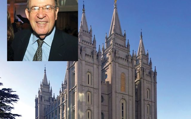 Former N.Y. Attorney General Robert Abrams, small photo, has spearheaded the Mormon outreach, the Mormon Church headquarters in Salt Lake City.  Wikimedia Commons