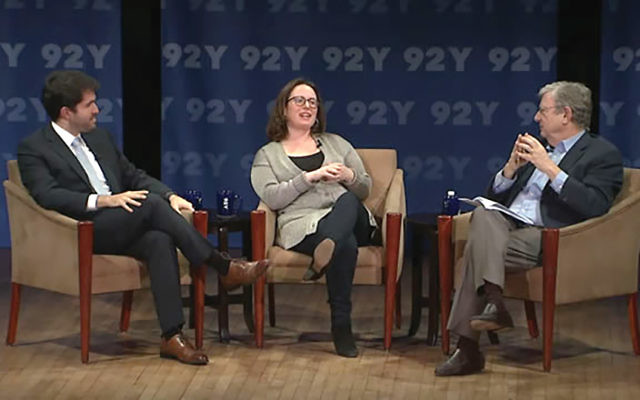 Close-up view of Trumpworld: Times' reporters Alex Burns, Maggie Haberman and moderator Jeff Greenfield. Courtesy of 92Y