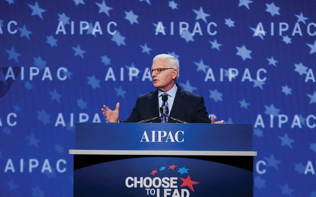 "AIPAC Executive Director Howard Kohr urged working toward ""a future of two states for two people."""