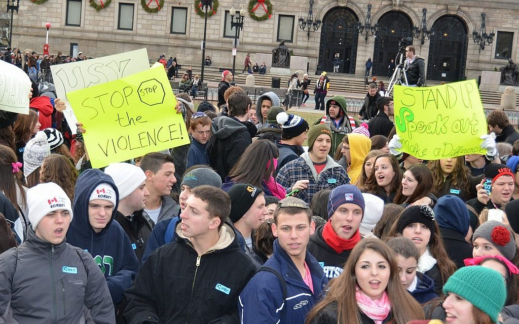 USY members protest violence in 2013 after the Boston Marathon attacks. (Courtesy)