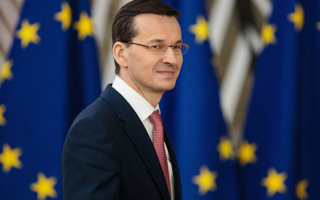 Polish Prime Minister Mateusz Morawiecki arriving at the Council of the European Union in Brussels, March 22, 2018. (Jack Taylor/Getty Images)